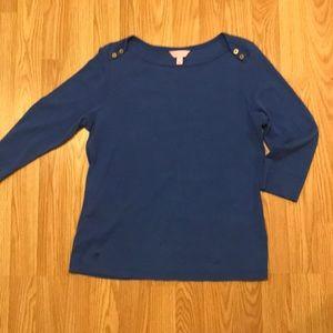 Large Lilly Pulitzer Blue Quarter Length Shirt